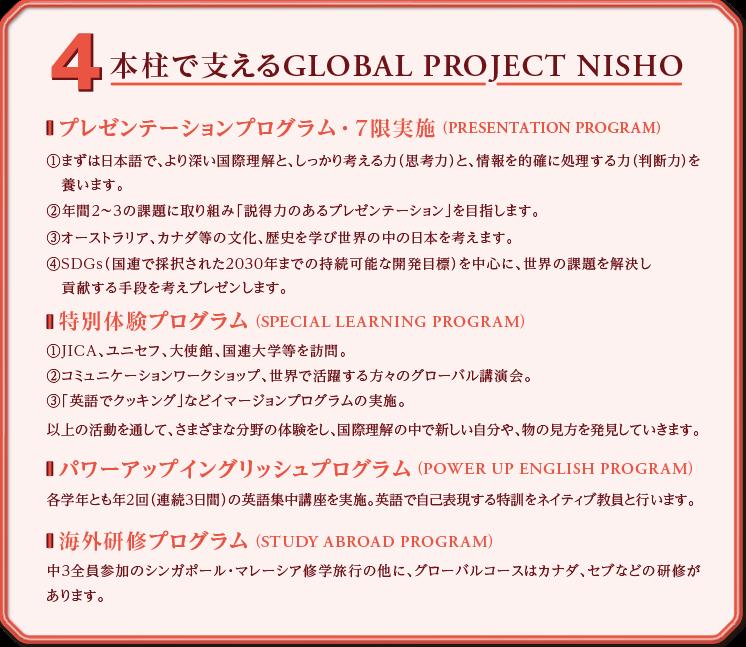 4本柱で支えるGLOBAL PROJECT NISHO/プレゼンテーションプログラム・7限実施(PRESENTATION PROGRAM):①まずは日本語でより深い国際理解としっかり考える力「思考力」と情報を的確に処理する力(判断力)を養います。②年間2〜3の課題に取り組み「説得力のあるプレゼンテーション」を目指します。③オーストラリア、カナダ等の文化、歴史を学び世界の中の日本を考えます。④SDGS(国連で採択された2030年までの持続可能な開発目標)を中心に世界の課題を解決し貢献する手段を考えプレゼンします。特別体験プログラム(SPECIAL LEARNING PROGRAM):①JICA、ユニセフ、大使館、国連大学等を訪問。②コミュニケーションワークショップ、世界で活躍する方々からのグローバル講演会。③「英語でクッキング」などイマージョンプログラムの実施。以上の活動を通して、さまざまな分野の体験をし、国際理解の中で新しい自分や、物の見方を発見していきます。パワーアップイングリッシュプログラム(POWER UP ENGLISH PROGRAM):各学年とも年2回(連続3日間)の英語集中講座を実施。英語で自己表現する特訓をネイティブ教員と行います。海外研修プログラム(STUDY ABROAD PROGRAM):中3全員参加のシンガポール、マレーシア研修旅行の他に、グローバルコースはカナダ、セブなどの研修があります。