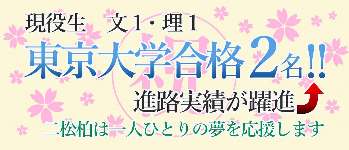 現役生 文1・理1 東京大学合格2名!!  進路実績が躍進! 二松柏は一人ひとりの夢を応援します。